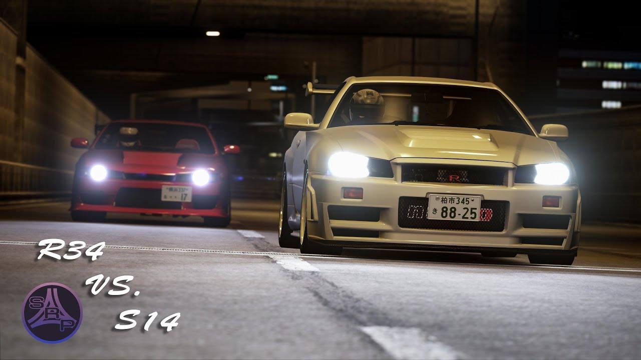 [Shutoko Revival Project] R34 vs S14 Highway Battle