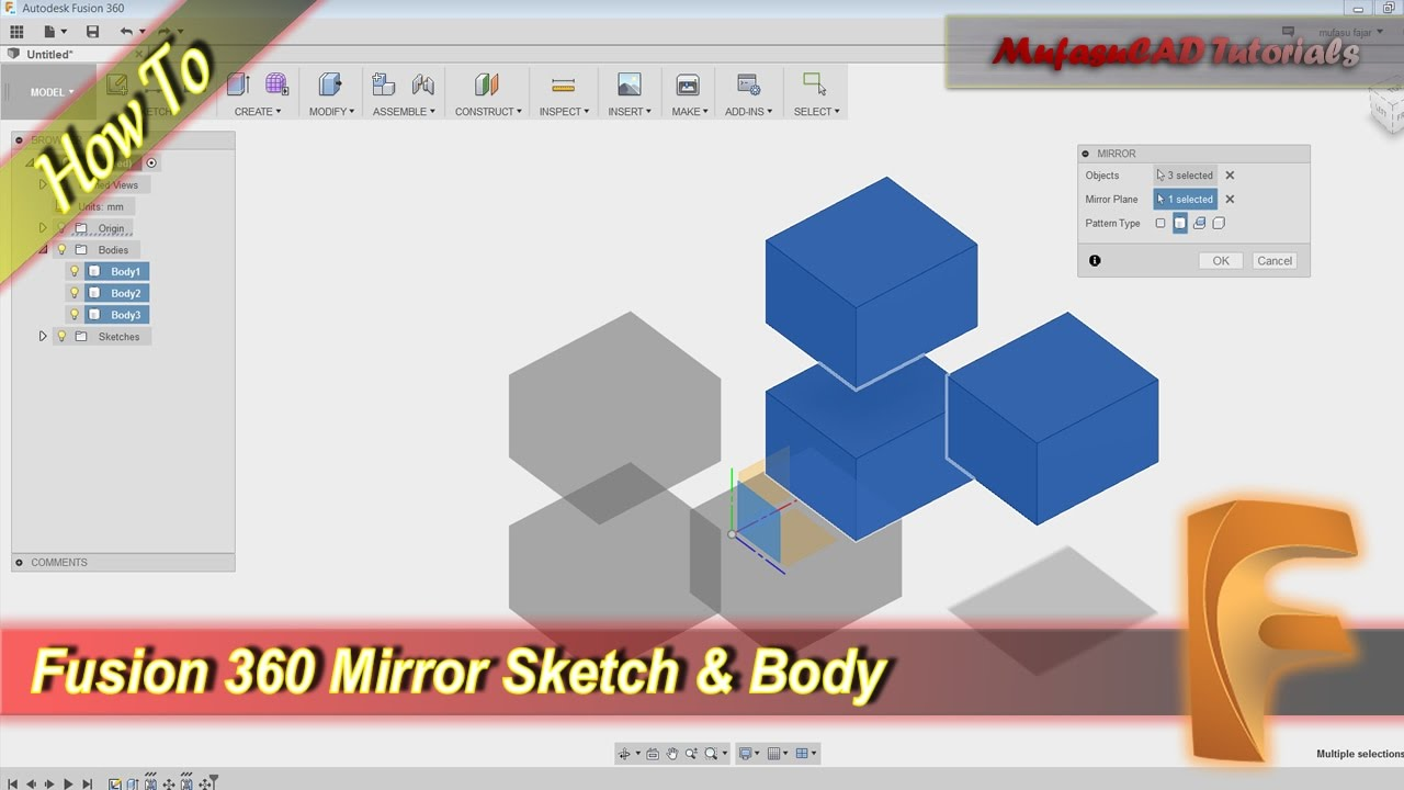 Fusion 360 How To Mirror Sketch And Body