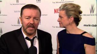 The Golden Globes 2015: Ricky Gervais & Jane Fallon Weinstein Afterparty Interview