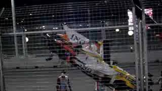 Nelson Piquet's Crashed Renault being taken away. Part 1
