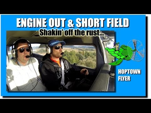 C150: Engine Out into Headwind, Short Landing + Cockpit Audio/GoPro HD