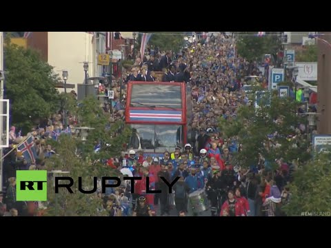 Hero welcome for the Iceland team returning home after Euro-2016 (recorded live)