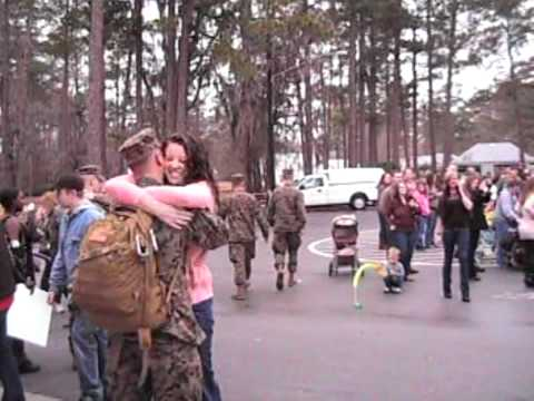 A tear jerking welcome home to the 22nd Marine expeditionary Unit after record deployment.