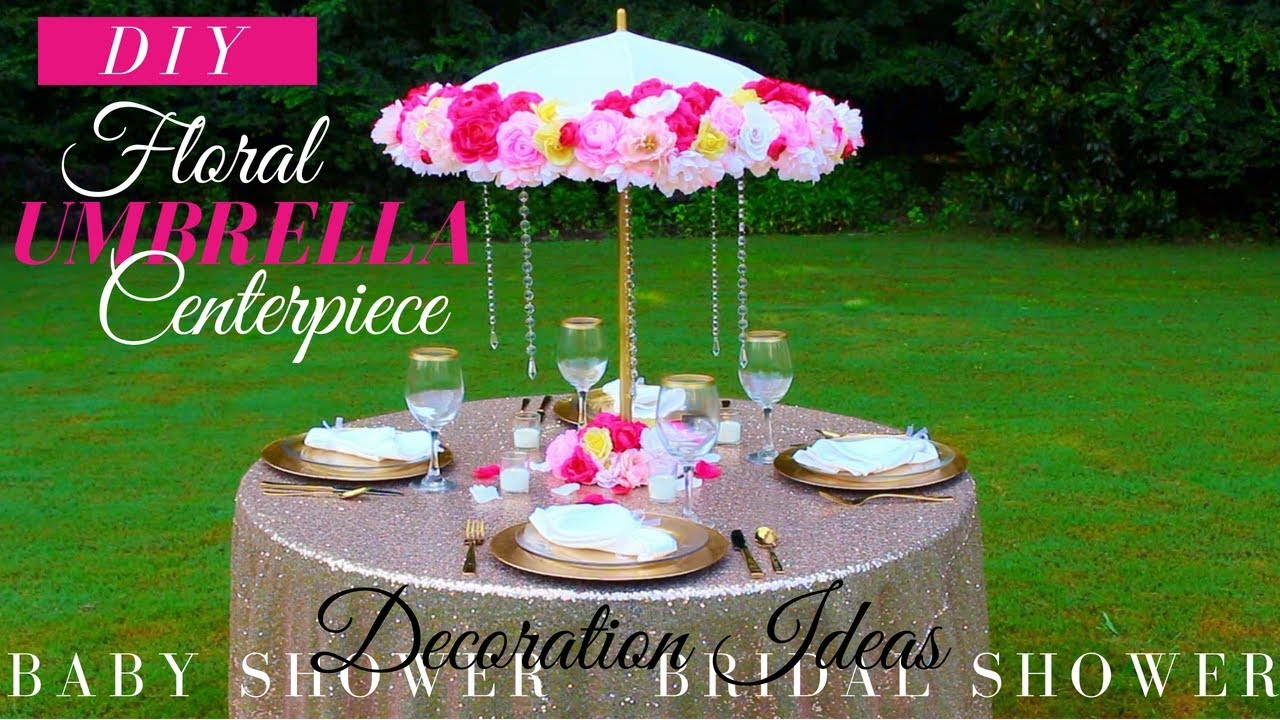 diy floral umbrella centerpiece bridal shower baby shower decoration ideas