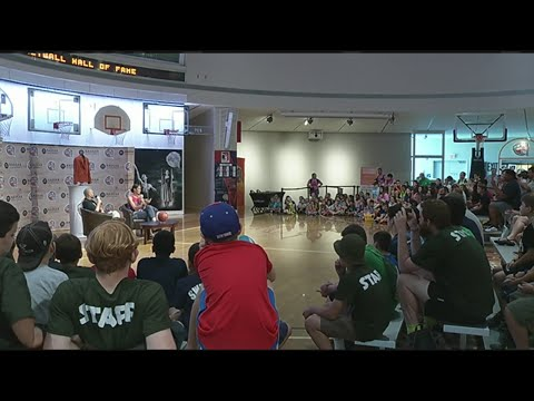 Rebecca Lobo talks to fans at Basketball Hall of Fame