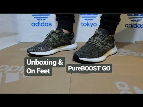 adidas-pureboost-go-unboxing-&-on-feet!---ah2325-base-green-/-trace-olive