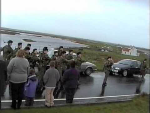 PIPES & DRUMS ON REMEMBRANCE SUNDAY, BENBECULA & SOUTH UIST, SCOTLAND,  2002