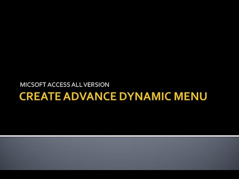 MIcrosoft Access Dynamic Menu | Advance Design | After Login