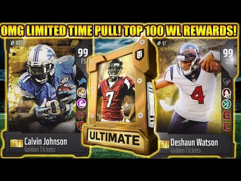 OMG LIMITED TIME PULL! TOP 100 WL REWARDS FOR GOLDEN TICKETS! | MADDEN 18 ULTIMATE TEAM