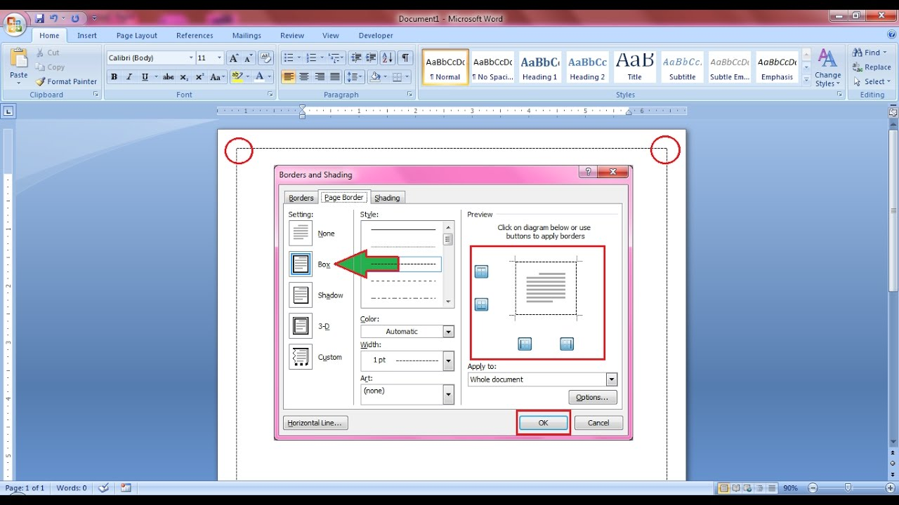 how to put border in word 2007