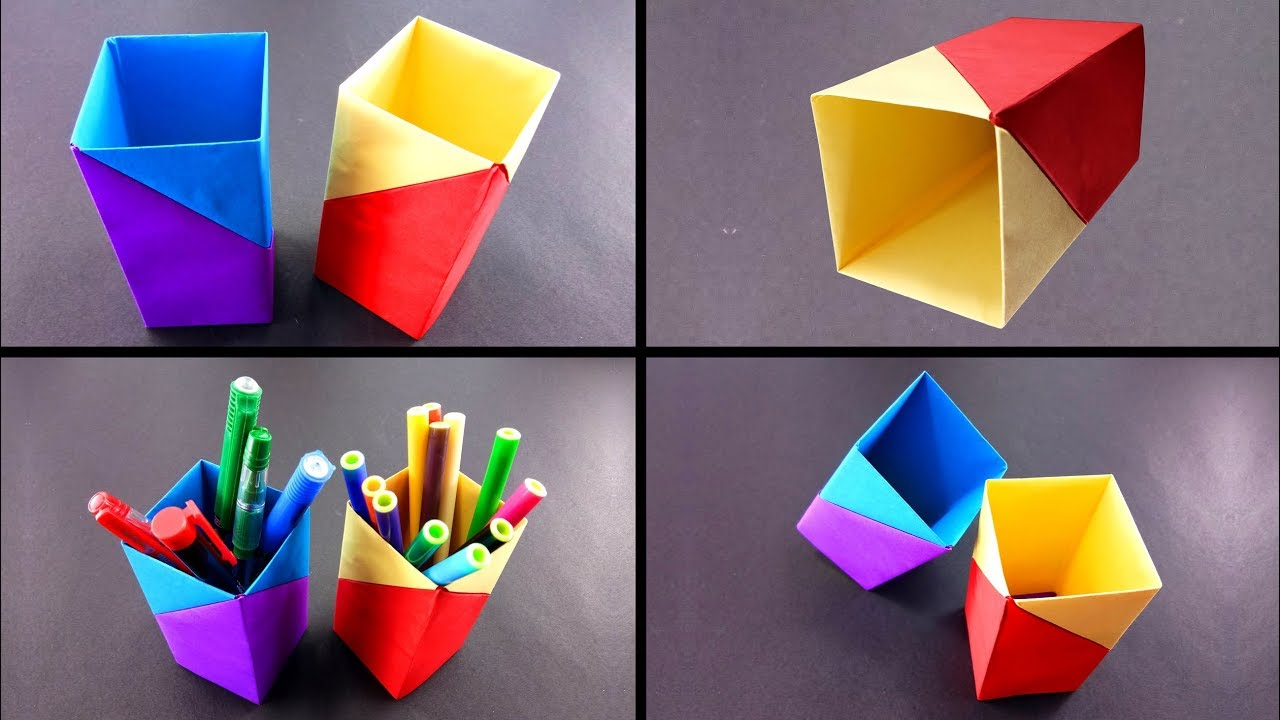 how to make a easy paper pen holder at home diy paper crafts youtube