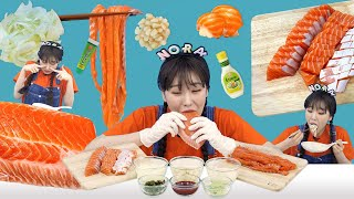 Raw Salmon Mukbang 연어회 먹방 NORA…