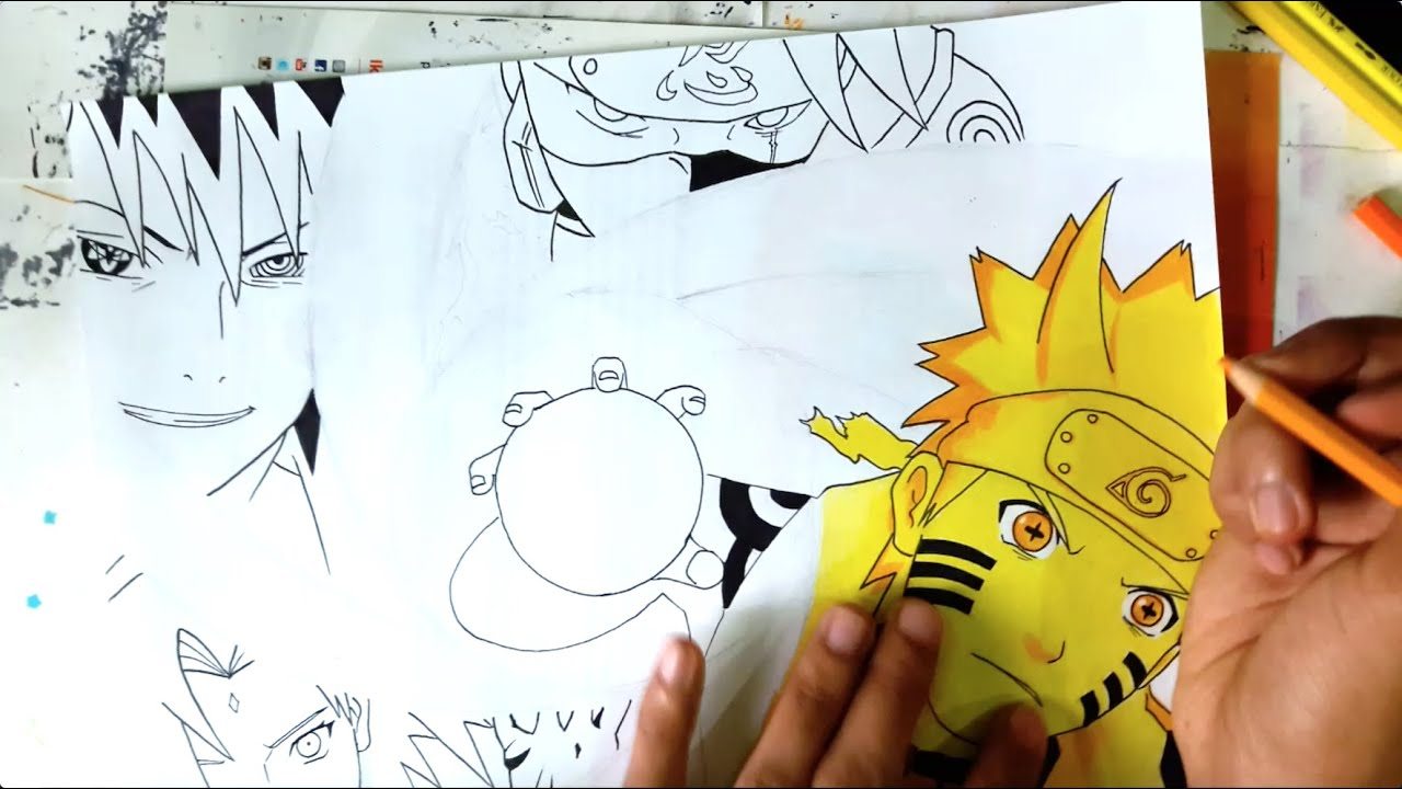 drawing naruto six path sage mode team 7 requested youtube. Black Bedroom Furniture Sets. Home Design Ideas