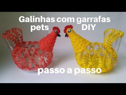 Galinhas feitas com Garrafas Pets - Passo a Passo