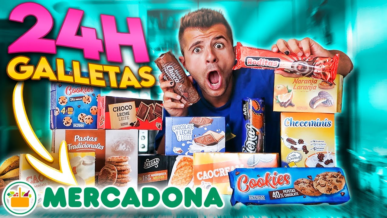 PROBANDO TODAS las GALLETAS de MERCADONA en 24 HORAS!! 🍪- @ibngarcia
