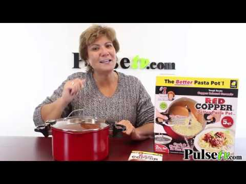 red copper better pasta pot as seen on tv youtube. Black Bedroom Furniture Sets. Home Design Ideas