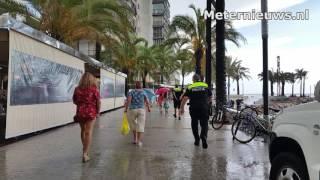 Wateroverlast na hoosbui in Spaanse Salou