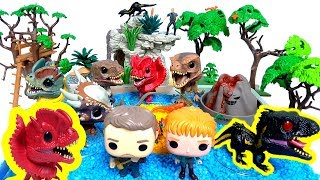 Learn Dinosaur names with Jurassic World Funko Pop Dinosaur, Volcano Beach Sand Play Set