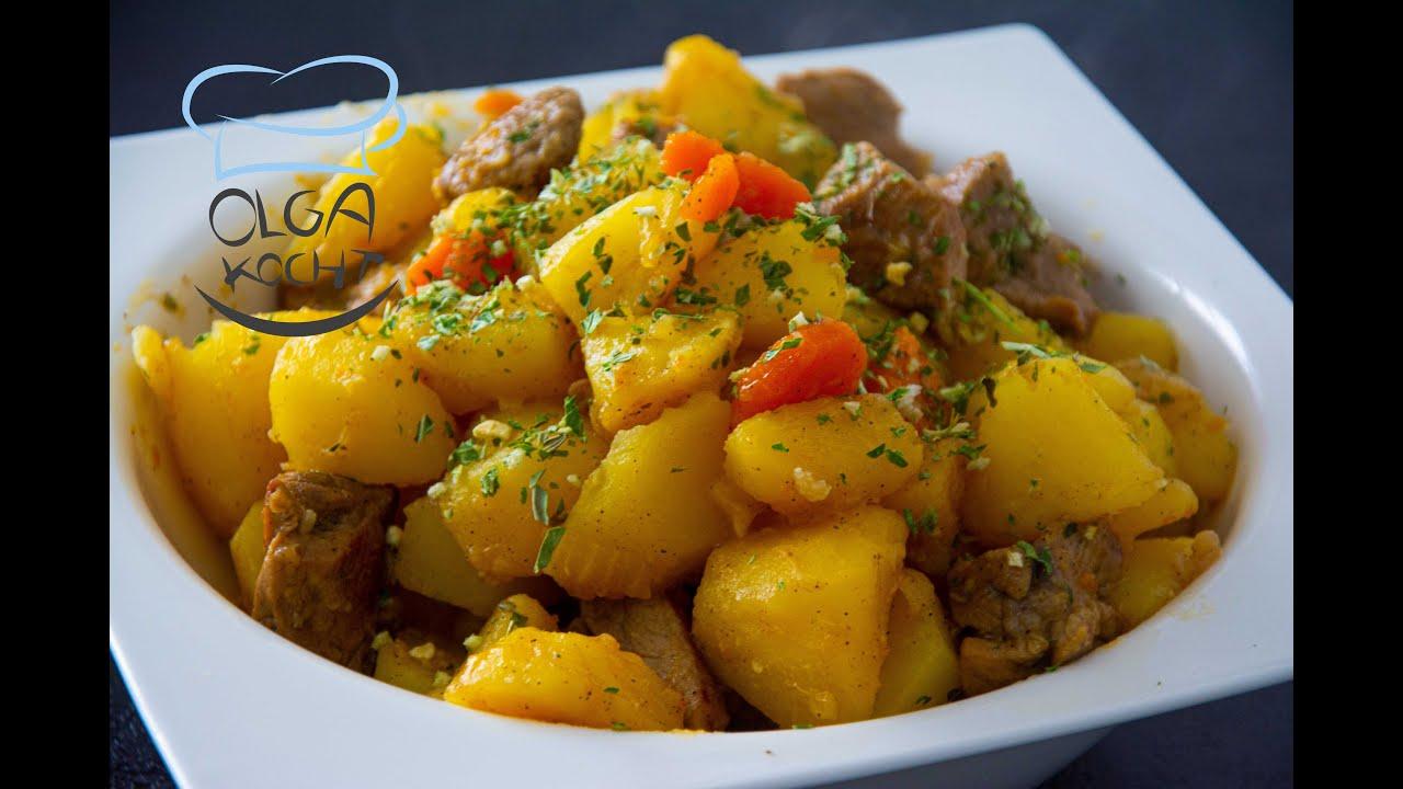 Gedünstete Kartoffeln mit Fleisch Rezept   tuschonaja kartoschka s mjasom