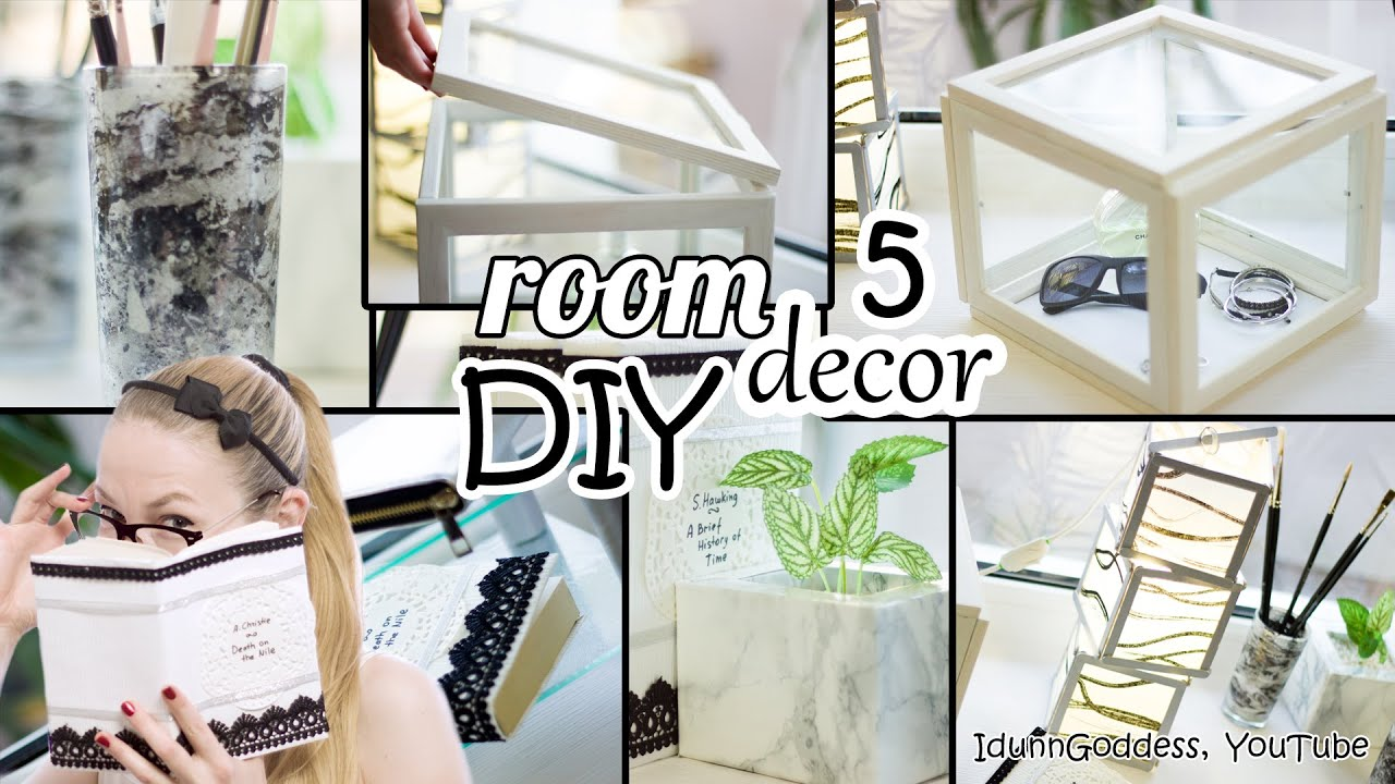 5 diy room decor and desk organization ideas art deco style youtube. Black Bedroom Furniture Sets. Home Design Ideas