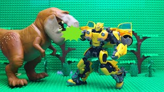 Transformers Bumblebee Beetle Stop motion Lego & Tobot Robot Car Kids Toys Dinosaurs in the cave!