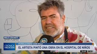Milo Lockett pintó de colores las paredes del Hospital de Niños