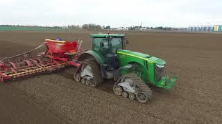 Mega siew pszenicy John Deere 8370 R na gąsienicach & John Deere 9520 Kombinat Rolny Kietrz