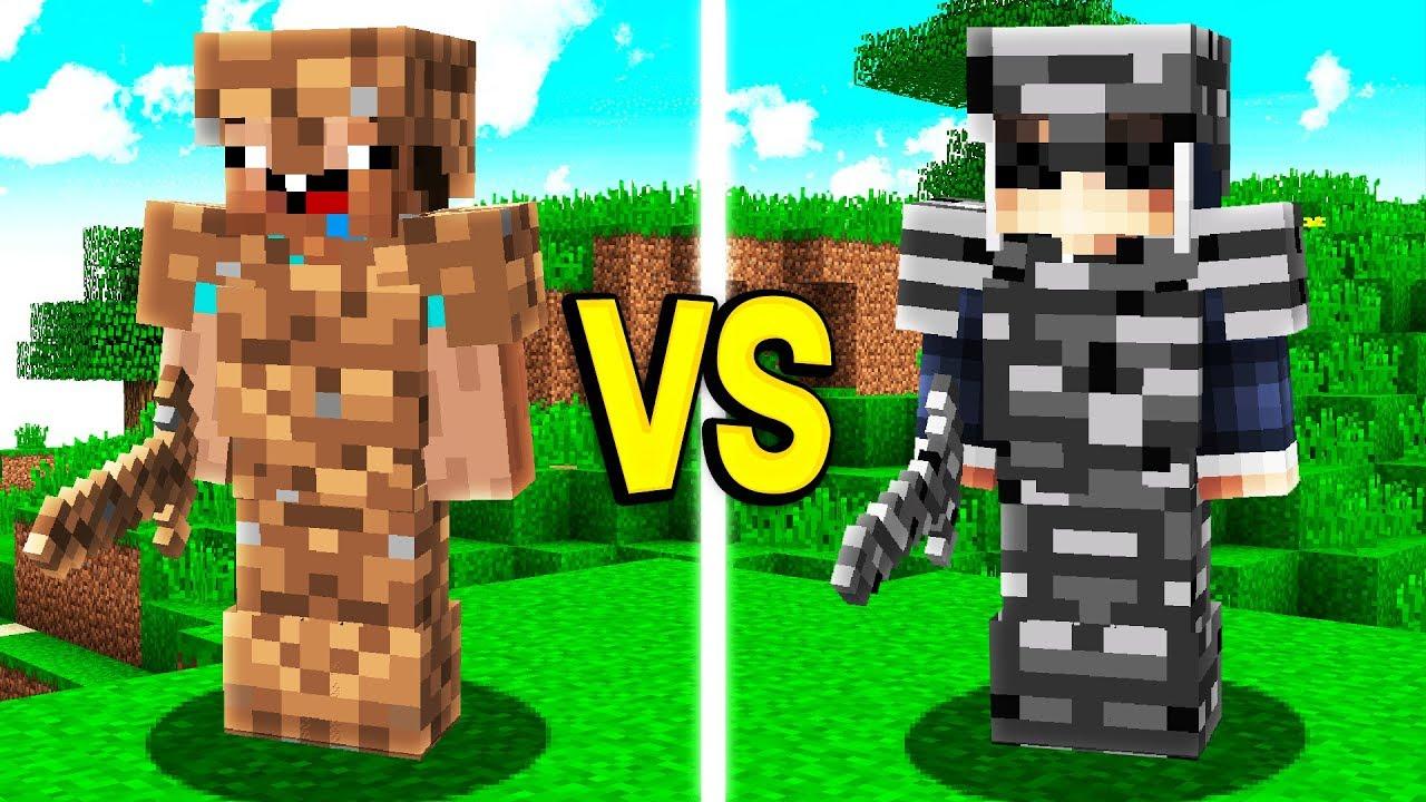DIRT ARMOR vs BEDROCK ARMOR IN MINECRAFT!!