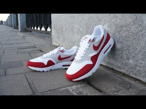 Смотреть видео Nike Air Max 1 Ultra Essential OG White Varsity Red Neutral Grey  White онлайн f803d660b