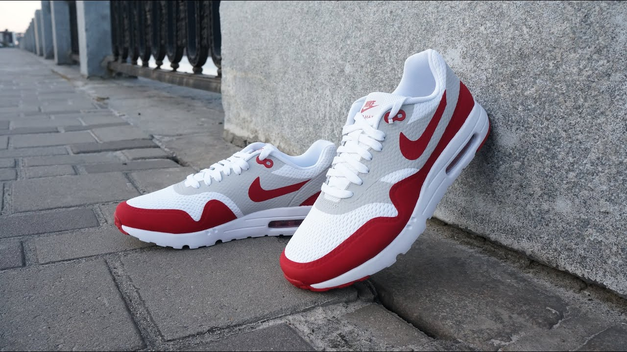 Nike Air Max 1 Fours Rouges Ultra Essentiel De Fac Blanc