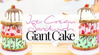 GIANT ICE CREAM SANDWICH CAKE TUTORIAL!