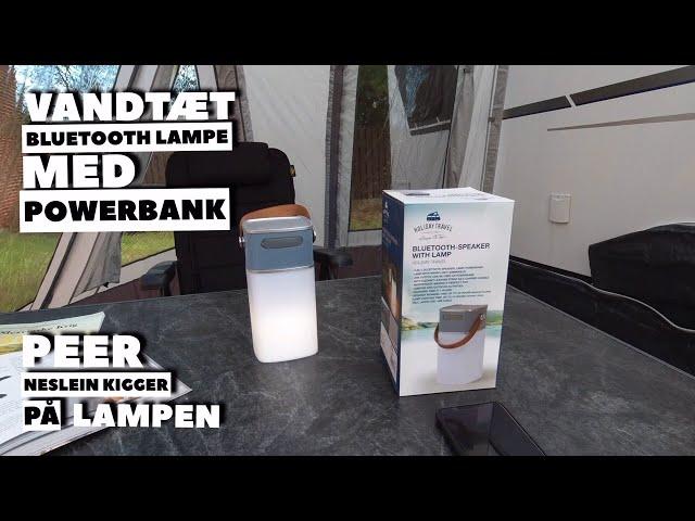Vandtæt Bluetooth lampe med højttaler og powerbank (Reklame)