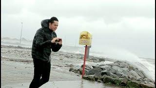 Hurricane OPHELIA hits Galway, Ireland. Guy gets Soaked!