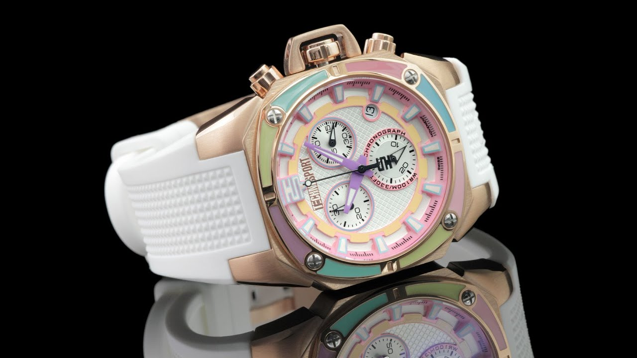 TechnoSport TS-100-S38 Womens 40mm Swiss Chronograph Silicone Strap Watch