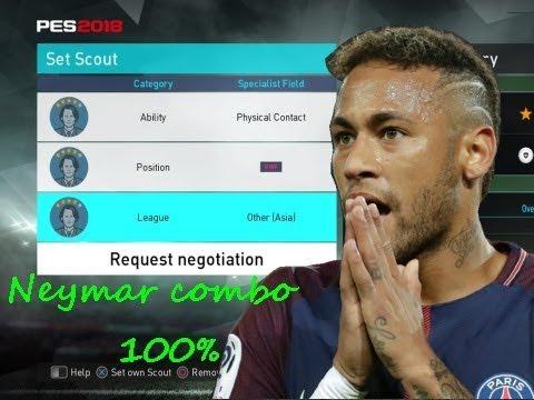 PES 2018 Neymar myClub scout combo