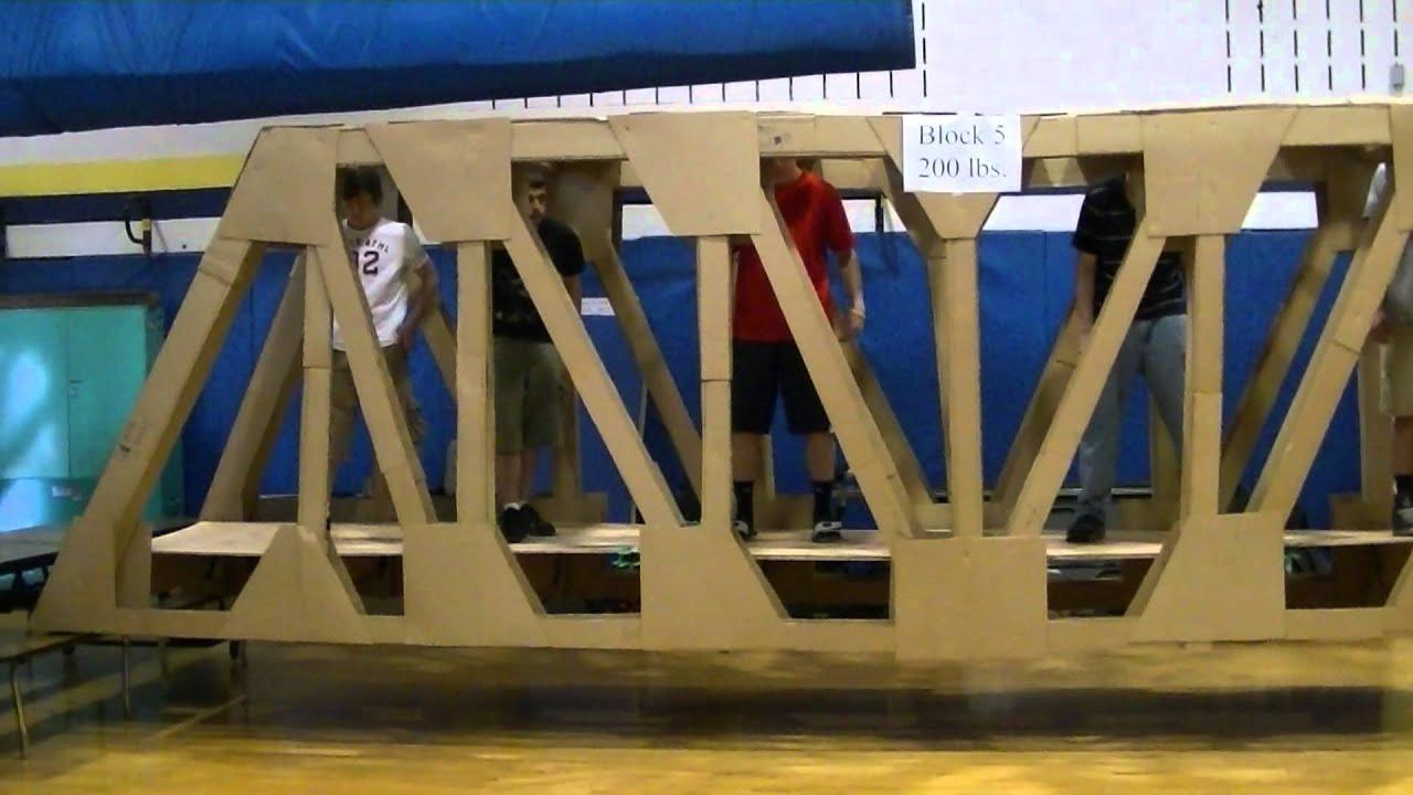 Full Sized 24 foot Cardboard Pratt Truss Bridge  Block 5