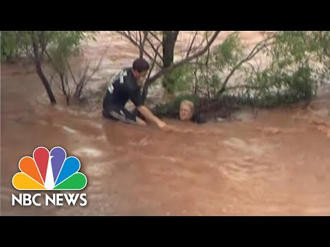 WATCH: Rescuers Save Woman From Rushing Oklahoma Flood Waters | NBC News