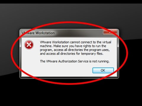 How to fix The VMware Authorization Service is not running - YouTube