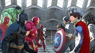 Batman vs Superman vs Captain America vs Ironman vs Hulk vs Deadpool vs Spiderman vs Goku thumbnail