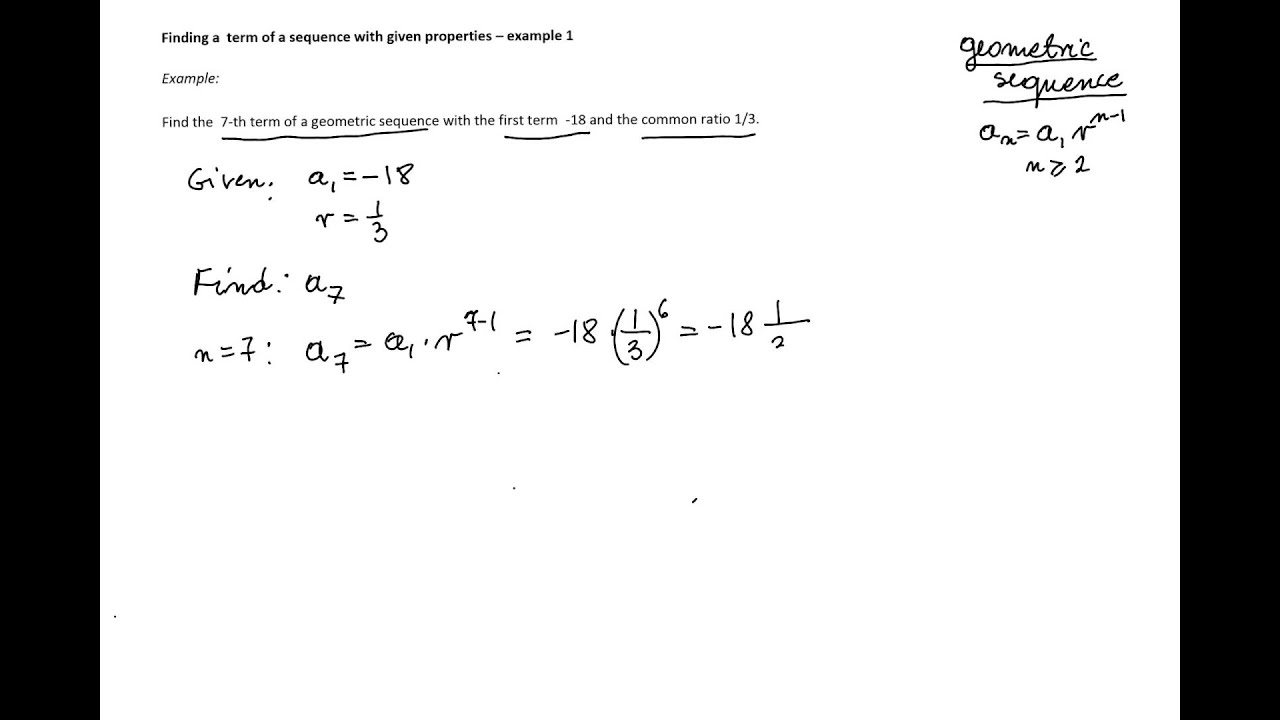how to find a1 and r in a geometric sequence