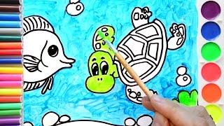 Подводный мир. Рисуем животных. Урок рисования для детей. Раскраска.