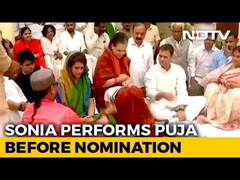 Sonia Gandhi Performs Havan Before Filing Nomination From Rae Bareli