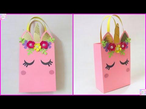 How to make Paper Bag/ DIY Unicorn Paper Bag/DIY Paper bag for treat/DIY Goodie bag /candy bag