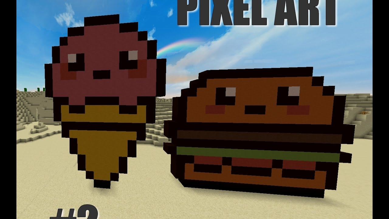 Pixel Art Minecraft I Hamburger Et Glace Kawai Youtube