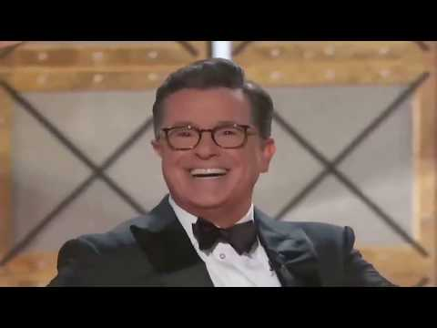 Stephen Colbert singing at the Emmy Awards 2017