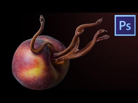 Peach & Snakes Photo Manipulation Effects Photoshop Tutorial