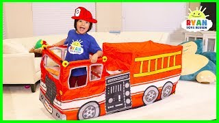 Ryan pretend play with Fire Truck Vehicle Play Tent