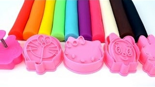 Kids Toddler Learn Teach Rainbow Colors Toys Children Creative Play Doh Hello Kitty Cat Doraemon To