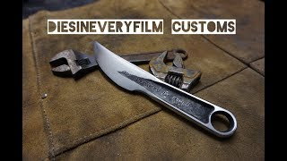 Forging a knife from a rusty wrench