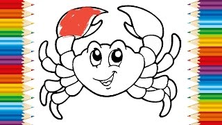 CRAB Coloring page for KIDS and Learning How to Draw Crab - Videos for children